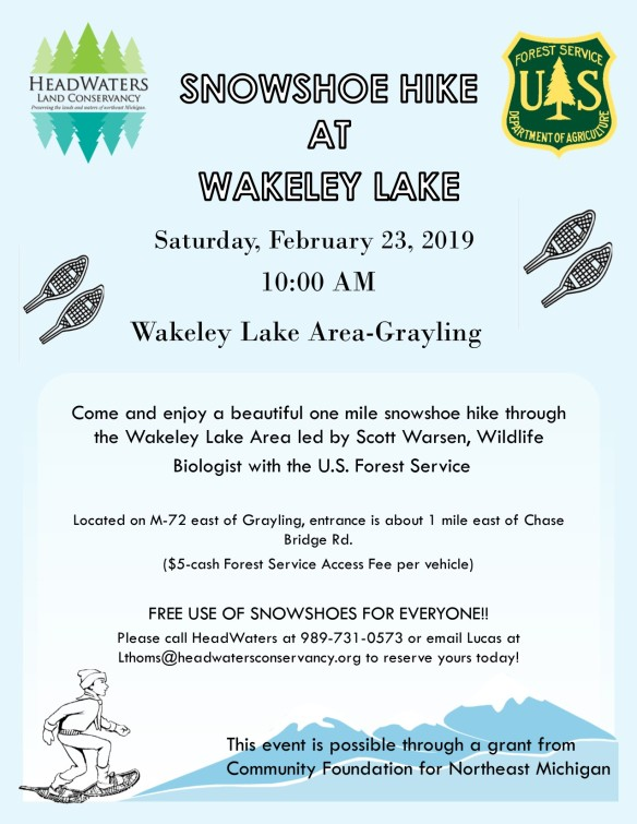 2019 snowshoe hike at wakeley lake