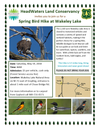 Wakeley Lake Bird Hike Flyer 2018